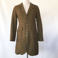 FREE PEOPLE LONG BUTTON FRONT WOOL COAT Excellent used condition. Flannel inside. Free People Jackets & Coats