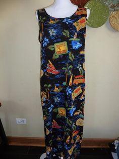 VTG Disney Store womens sz L tank hawaiian mickey mouse long maxi dress vacation #Disney #Maxi