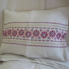 Hand embroidered on vintage linen cross stitch cushion 50 x 40cm