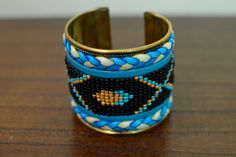 Turquoise & Black Native Cuff Bracelet,  by oRadhaO on Etsy