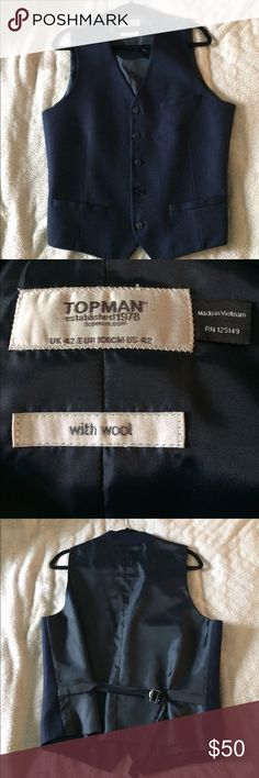TOPMAN - Dark Blue Vest Suit TOPMAN - Dark Blue Vest Suit w/ wool front. Very stylish! Size: 42 Topman Suits & Blazers Vests