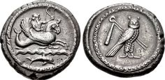 Greek Silver Shekel from Tyre, Phoenicia c. 425-394 BC This coin, struck under an uncertain king, shows Melkart holding a bow and reigns while riding a hippocamp with a dolphin swimming in the waves...