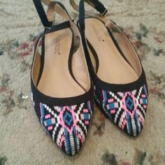 Shoedazzle Blue Multi flat sandals It has a ver low heel. These are brand new, with box included.  There are very vibrant colors on the toe part if the shoe. There size 7.5 The back strao you can wrap around your ankle. Can wear with about anything. shoedazzle  Shoes Sandals