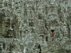 Buddhist Monks in a Doorway of the Ruins of the Bayon at Angkor Photographic Print