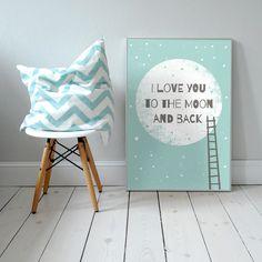 I love you to the Moon and back. Plakat dla dzieci. pokój dziecka | noc | ilustracja | nursery poster | scandinavian style | moon | baby | illustration | baby room