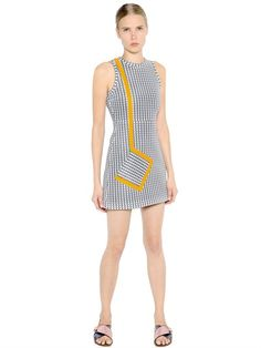 MSGM - PRINTED NEOPRENE DRESS WITH TRIM DETAIL - LUISAVIAROMA - LUXURY SHOPPING…