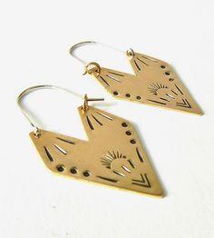 Flying Vee Stamped Brass Earrings by Phyllis & Hazel on Scoutmob