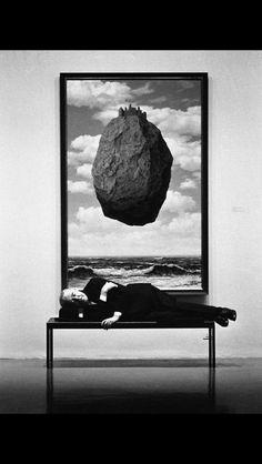 "René Magritte with ""Le château des Pyrénées"", MoMA"