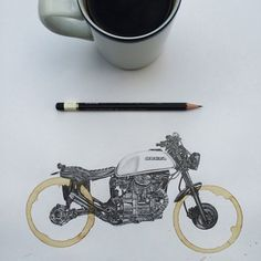 Drawings of motorcycles by artist Carter Asmann, using the stains left by coffee cups. #EasyNip