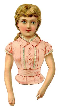 The Graphics Fairy LLC*: Victorian Clip Art - Pretty Pink Scrap Girl or Paper Doll (Print and cut out with a skirt looking bottom to wrap lace around. Vintage Clip Art, Vintage Ephemera, Vintage Postcards, Victorian Paper Dolls, Vintage Paper Dolls, Vintage Girls, Vintage Children, Vintage Pictures, Vintage Images