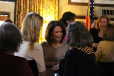 Rep. Michele Bachmann meeting guests.  Missouri Eagle Forum hosted a fabulous luncheon on 3/22/14 featuring Cong. Michele Bachmann and Phyllis Schlafly!