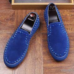Blue Royal Spikes Suede Punk Rock Mens Sneakers Flats Shoes Blue Shoes, Men's Shoes, Shoe Boots, Shoes Sneakers, Spike Shoes, Flat Dress Shoes, Winter Snow Boots, Metal Buckles, Spikes
