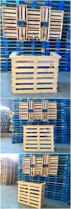 This is another exciting creation of the wood pallet wine bar counter table that will make you fall in love with its dark rustic beauty impression. This is a long vertically designed table which even add up the sections of shelves in the downside area of the table. You can even take advantage of it as the counter table.