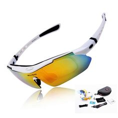 WOLFBIKE POLARIZE Sports Cycling Sunglasses with 5 Set Interchangeable Lenses White - http://cyclingclothingforwomen.shopping-craze.com/index.php/2016/04/09/wolfbike-polarize-sports-cycling-sunglasses-with-5-set-interchangeable-lenses-white/