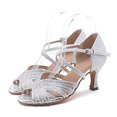 80a49fe5ca Shall We® Women s Latin Shoes   Salsa Shoes Sparkling Glitter Sandal   Heel  Rhinestone   Sparkling Glitter   Buckle Flared Heel Customizable Dance  Shoes ...