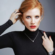 I like Jessica Chastain style & the black turtleneck here