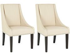 Safavieh Wilton Dining Chair (Set of 2) in Cream Faux Leather (A78-D1A)