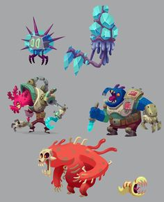 Game Concept Dump Post The final batch of various concepts done while doing visual development on a game at my previous job. The game did not end up happening but it was a fun experience. Game Character Design, Character Design References, Character Design Inspiration, Character Concept, Character Art, Sprites, Creature Concept Art, Creature Design, Fantasy Angel