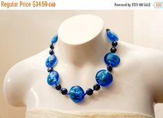 ON SALE Blue statement necklace Blue jewellery by AnjouBijoux