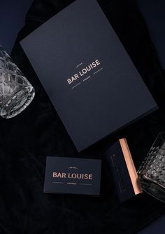 Business Card Imperial blue paper & copper foild for a cocktail bar in Cognac, France. Branding and luxury stationary by www.burovelvet.com
