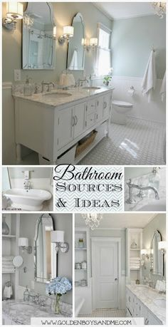 DIY Master Bathroom with pedestal tub, white subway tile, carrera (with sources)