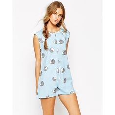 Minkpink Ying Yang Kitty Playsuit (115 BRL) ❤ liked on Polyvore featuring jumpsuits, rompers, blue, blue rompers, playsuit romper, blue romper and minkpink