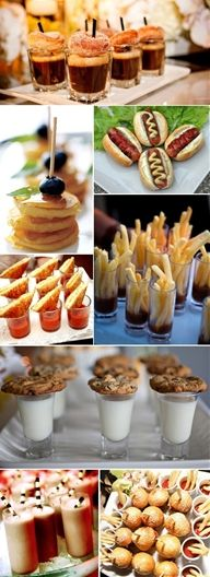 Finger food ideas �  i like the mini hot dogs and donughts served with mini cocktail