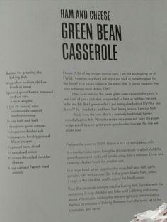 Ham and Cheese Green Bean Casserole 1/2- Chrissy Teigen, *Cravings*