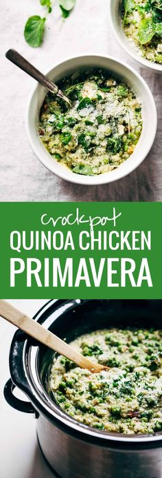 This Crockpot Quinoa Chicken Primavera is both healthy and comforting, plus it makes for a super easy dinner! Loaded with peas, asparagus, quinoa, garlic, parmesan, and chicken. YUM!