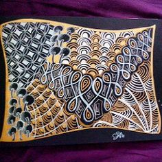 Gold,.silver and black Zentangle #zentangle #drawing #draw #tangle #tangling…