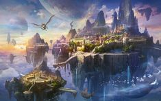 Ghost World by Fan Ming Fantasy Artwork, Fantasy Art Landscapes, Fantasy Concept Art, Fantasy Landscape, Landscape Art, Fantasy City, Fantasy Castle, World Of Fantasy, Fantasy Places