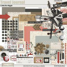 Travel Journal Collection Biggie digital scrapbooking kit, by Brandy Murry: Scrap Girls