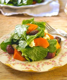 Winter Kale Salad with Roasted Grapes, Persimmons and Goat Cheese by @MKHandbook