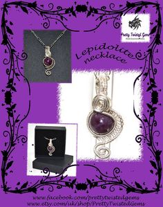 "Silver plated wire wrapped Lepidolite necklace - £17.5+ 2.50 P&P   This exquisite Lepidolite has been intricately hand wrapped with silver plated wire into a beautiful pendant. It measures approximately 3.5 cm (1.5"") by 2cm (0.75"") making it a truly dainty, yet eye catching piece."