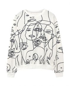 Abstract-faces Print Pullover Sweatshirt