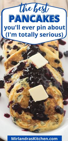 These are the best (and most easy) blueberry pancakes you have ever made! The buttermilk pancakes are perfect in texture and flavor while wild blueberries add sweet bursts of tangy flavor. Top with my simple Wild Blueberry Syrup or your favorite topping. #breakfast #brunch #holiday #easy #mothersday Fruit Recipes, Brunch Recipes, Delicious Recipes, Breakfast Recipes, Dessert Recipes, Easy Summer Desserts, Summer Food, Summer Recipes, Holiday Recipes