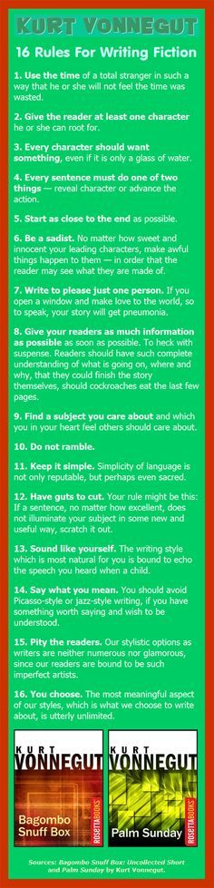 Kurt Vonnegut on Writing Fiction: 16 rules ... 16. You choose. The most meaningful aspect of our styles, which is what we choose to write about, is utterly unlimited.