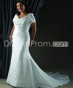 Brilliant Trumpet/Mermaid V-neck Short-Sleeve Floor-Length Chapel Lace Plus Size Wedding Dresses