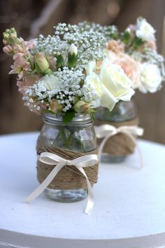 Twine wrapped mason jar center piece.