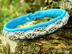 HUGINN Sami Viking Bracelet Swedish Lapland Turquoise Reindeer Leather with Tin Thread and White Leather Cord Braid - Custom Handcrafted.