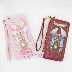 [Cheaper!] Pink/Red Card Captor Sakura The Clow Wallet Can Pack Phone SP152282
