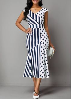Party Dress Belted Stripe and Dot Print Ruffle Trim Dress Latest African Fashion Dresses, African Print Fashion, Women's Fashion Dresses, Dress Outfits, Belted Dress, The Dress, Spandex Dress, Classy Dress, African Dress