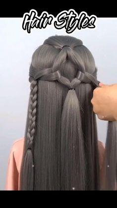 Easy Hairstyles For Thick Hair, Hair Tutorials For Medium Hair, Hairdo For Long Hair, Front Hair Styles, Short Hair Styles Easy, Medium Hair Styles, Hair Style Vedio, Grey Hair Care, Ariel Hair
