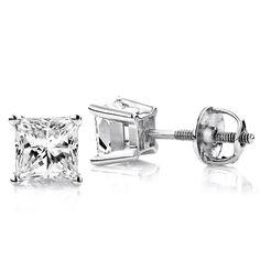 Luxurman Platinum 2ct TDW Princess-cut Diamond Stud Earrings (G-H, VS1-VS2 )