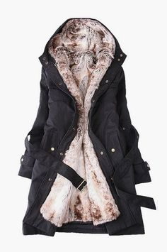 Parka Style Fur Hooded Winter Coat looks cozy and glorious! Look Fashion, Korean Fashion, Womens Fashion, Ladies Fashion, Fashion Coat, Sporty Fashion, Ski Fashion, Fashion Hub, Classy Fashion