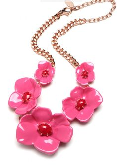 """DKNY x BaubleBar just launched this month on BaubleBar.com. You can get this """"Pink Poppy Bib"""" necklace for $175. The fun limited edition collection ranges from $40-$320."""