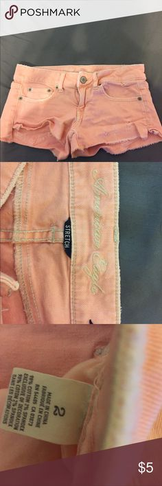 American Eagle peach jean distressed shorts Gently used shorts American Eagle Outfitters Shorts Skorts