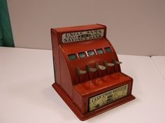 Red Antique 'Uncle Sam's' Metal 2 in 1 Play Store Cash Register Savings Bank. epsteam by retroricks on Etsy