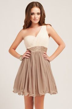 Cream & Taupe Embellished One Shoulder. @megan bridesmaid dress? This would be gorgeous on you!
