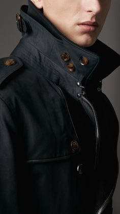 Burberry Midlength Wool Collar Cotton Gabardine Trench Coat in Blue for Men (navy) | Lyst
